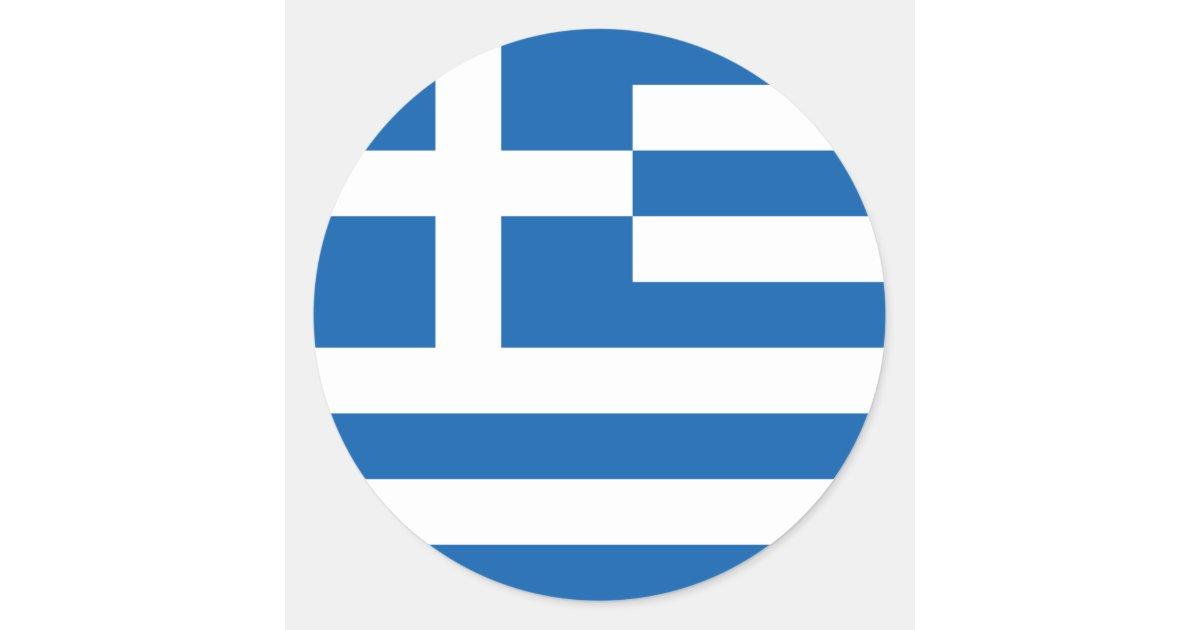 Flag Of Greece Sticker Circle Zazzle Com