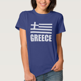 Flag Of Greece White Text Blue Shirts