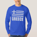 Flag Of Greece White Text Blue T Shirt