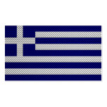 Flag of Greece with Carbon Fiber Effect Business Cards