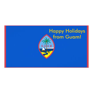 Flag of Guam, Happy Holidays from U.S.A. Photo Card Template