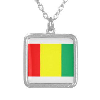 Flag of Guinea Square Pendant Necklace