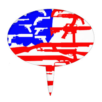 Flag Of Guns 2nd Amendment Cake Topper