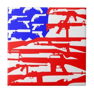 Flag Of Guns 2nd Amendment Ceramic Tile
