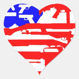 Flag Of Guns 2nd Amendment Heart Sticker
