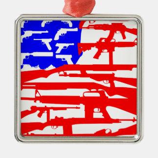 Flag Of Guns 2nd Amendment Square Metal Christmas Ornament