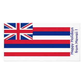 Flag of Hawaii Happy Holidays from U S A Photo Card
