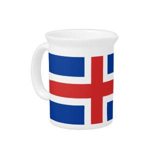 Flag of Iceland Beverage Pitcher