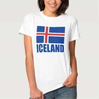 Flag Of Iceland Blue Text White Tshirts