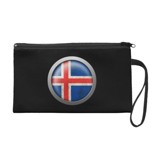 Flag of Iceland Disc Wristlet Clutches