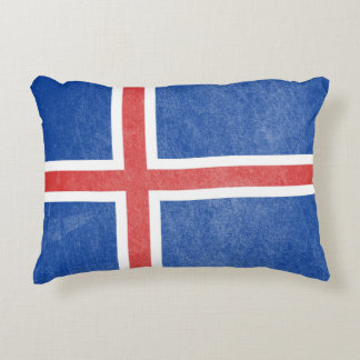 Flag of Iceland Grunge Accent Pillow