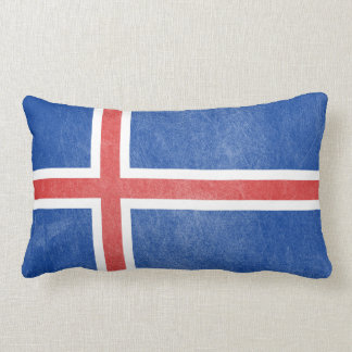 Flag of Iceland Grunge Pillow