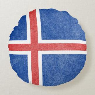 Flag of Iceland Grunge Round Pillow