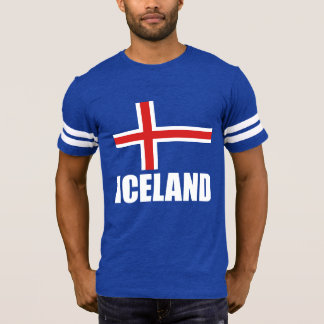Flag Of Iceland White Text On Blue T-Shirt