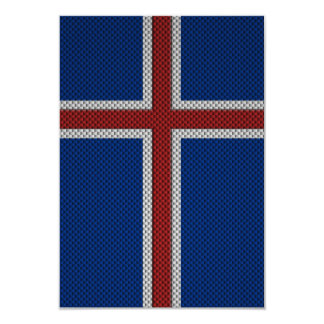 Flag of Iceland with Carbon Fiber Effect Card