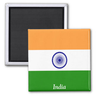 Flag of India 2 Inch Square Magnet