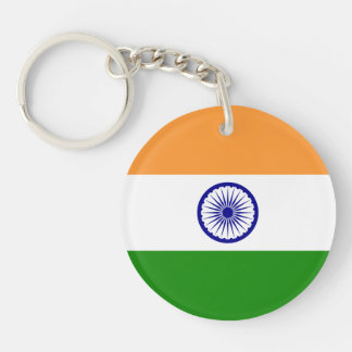 Flag of India Single-Sided Round Acrylic Keychain