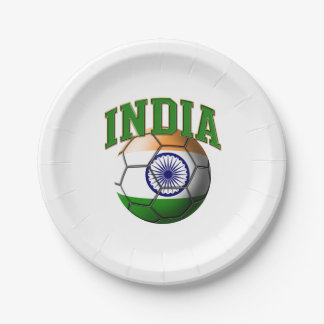 Flag of India Soccer Ball 7 Inch Paper Plate