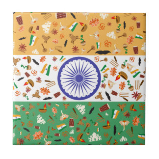 Flag of India with cultural items Ceramic Tile