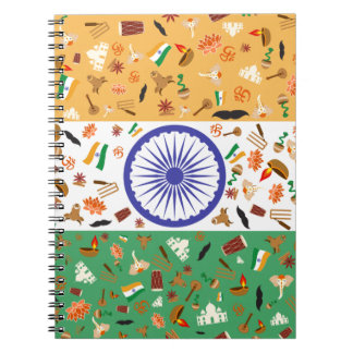 Flag of India with cultural items Note Books