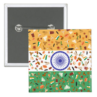 Flag of India with cultural items Pinback Button