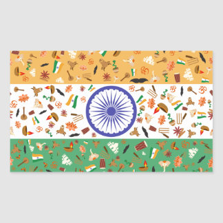 Flag of India with cultural items Rectangular Sticker