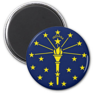 Flag of Indiana 2 Inch Round Magnet