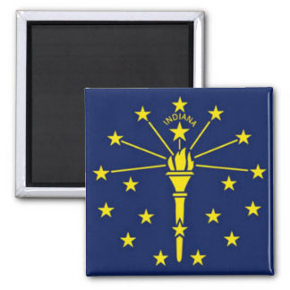 Flag of Indiana 2 Inch Square Magnet