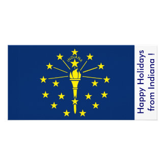 Flag of Indiana Happy Holidays from U S A Picture Card