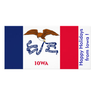 Flag of Iowa Happy Holidays from U S A Photo Cards