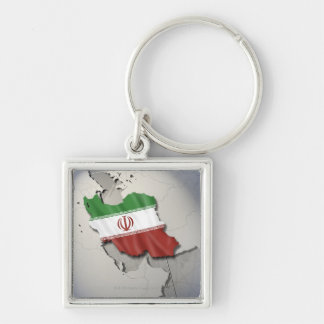 Flag of Iran Silver-Colored Square Keychain