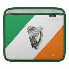 Flag Of Ireland Green Chrome Harp Ipad Sleeve at Zazzle