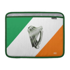 Flag Of Ireland Green Chrome Harp Macbook Air 13 Macbook Air Sleeve at Zazzle