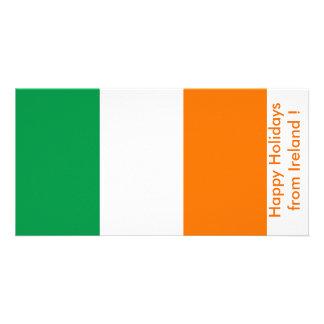 Flag of Ireland Happy Holidays from Ireland Customized Photo Card