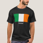 Flag of Ireland Mens Black T-Shirt