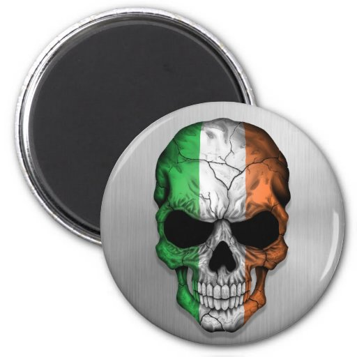 Flag of Ireland on a Steel Skull Graphic Fridge Magnets