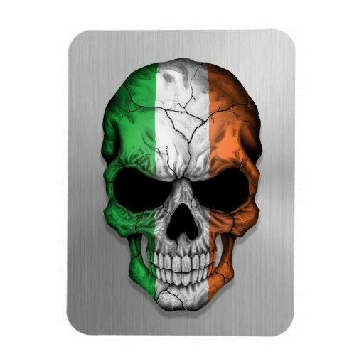 Flag of Ireland on a Steel Skull Graphic Flexible Magnet
