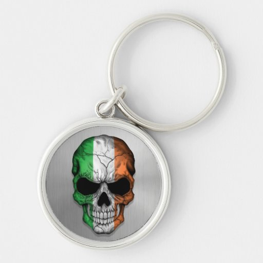 Flag of Ireland on a Steel Skull Graphic Silver-Colored Round Keychain