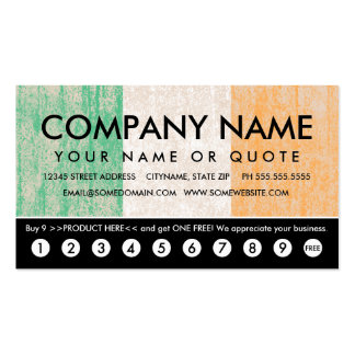 flag of ireland punch card business cards