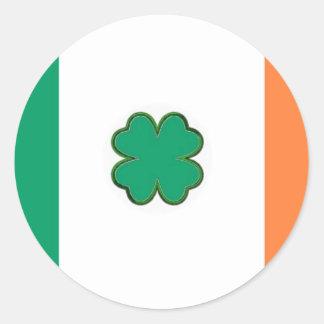 Flag of Ireland Shamrock Classic Round Sticker