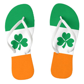 Flag of Ireland Shamrock Flip Flops