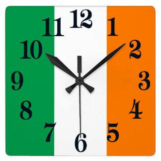 Flag of Ireland Shamrock Square Wall Clock