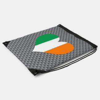 Flag of Irish on metal background Drawstring Bags