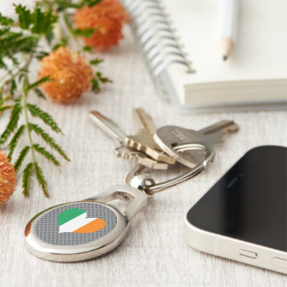 Flag of Irish on metal background Silver-Colored Oval Metal Keychain