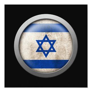 "Flag of Israel Disc 5.25"" Square Invitation Card"