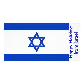 Flag of Israel, Happy Holidays from Israel Custom Photo Card