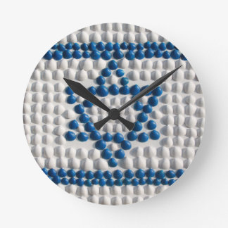 Flag of Israel made of shells from Israel Round Wall Clocks