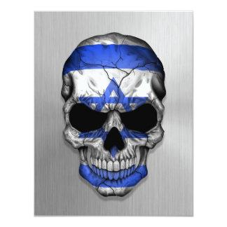 "Flag of Israel on a Steel Skull Graphic 4.25"" X 5.5"" Invitation Card"