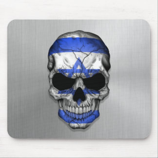 Flag of Israel on a Steel Skull Graphic Mouse Pad