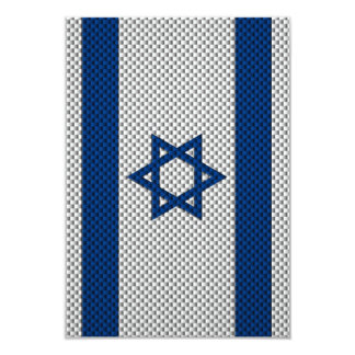"""Flag of Israel with Carbon Fiber Effect 3.5"""" X 5"""" Invitation Card"""